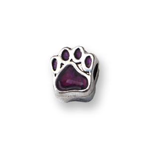 Perle pour bracelet - Papatte émaillée - Violet