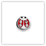 Passant pour 8mm �maill� & strass - Coccinelle rouge