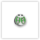 Passant pour 8mm �maill� & strass - Coccinelle vert