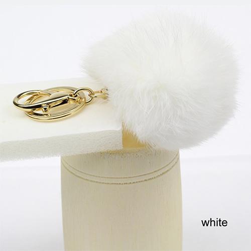 Porte clef Pompon fourrure lapin 15 à 25mm Blanc