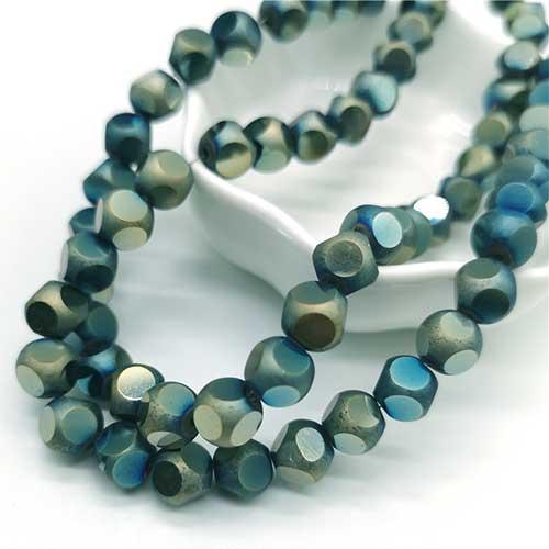 Perles rondes cubiques 8mm Silver