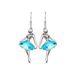Boucle d'oreille strass Ballerine - Turquoise