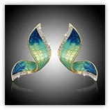 Boucle d'oreille strass Papillon 2 - Bleu