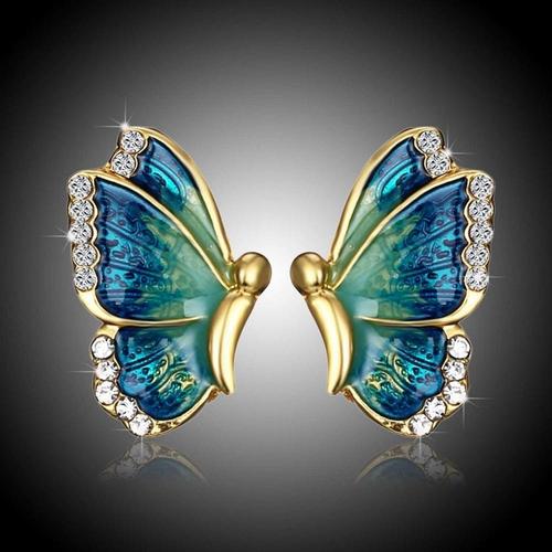 Boucle d'oreille strass Papillon 3 - Bleu