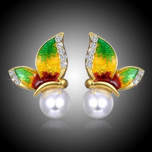 Boucle d'oreille strass Papillon 4 - Vert