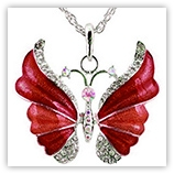 Pendentif strass Papillon 1 - Rouge