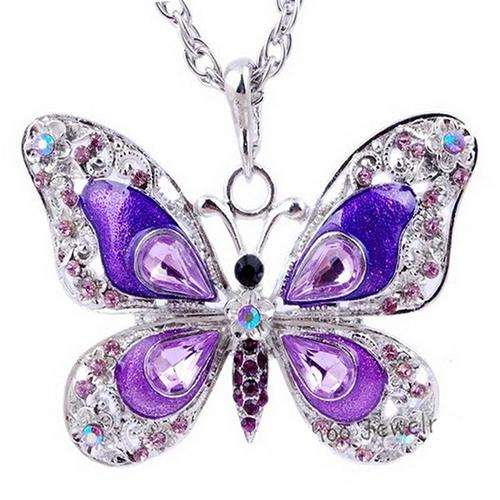 Pendentif strass Papillon 2 - Violet